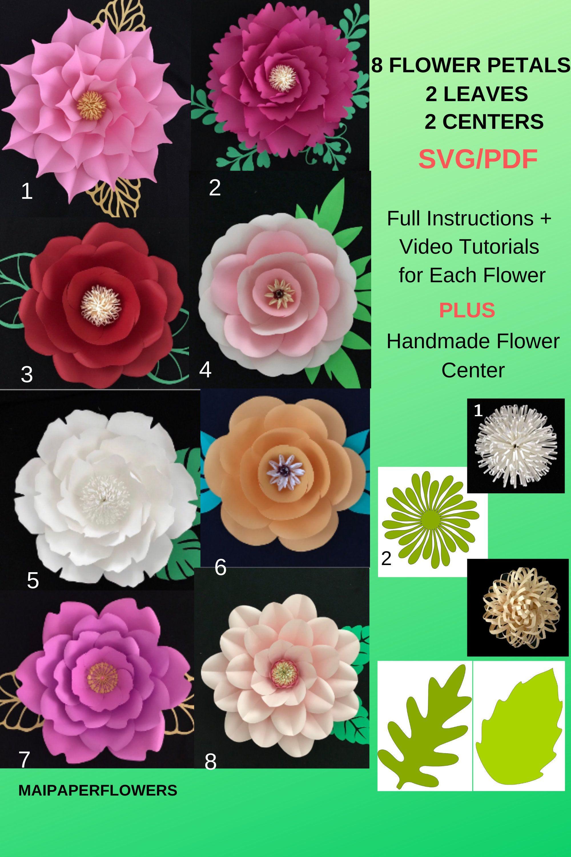 Digital Paper Flower Template Svg Pdf Leave Center Combo Giant