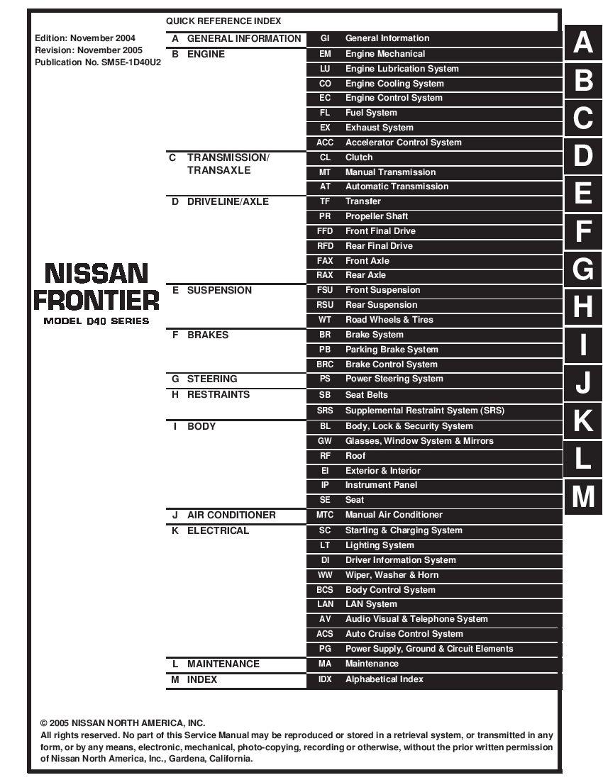 Nissan Frontier 2003 2005 Full Repair Service Manual Download Service Manual Repair Manual Pdf Download Repair Manuals Nissan Nissan Pathfinder