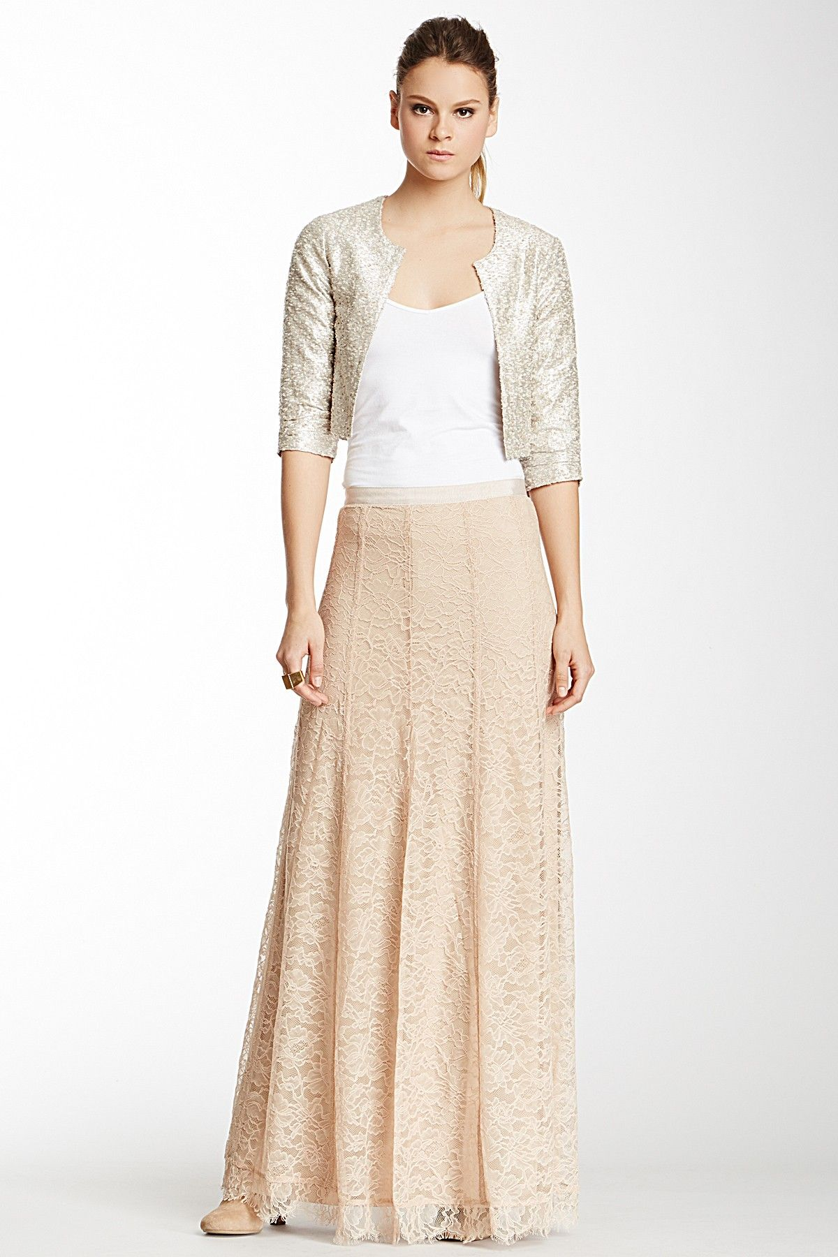 Lace maxi skirt you can make from regular laceujust cut at the