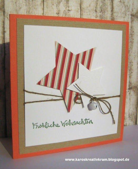 Schnelle Weihnachtskarten Basteln.Karos Kreativ Kram Einfache Und Schnelle Weihnachtskarten Star