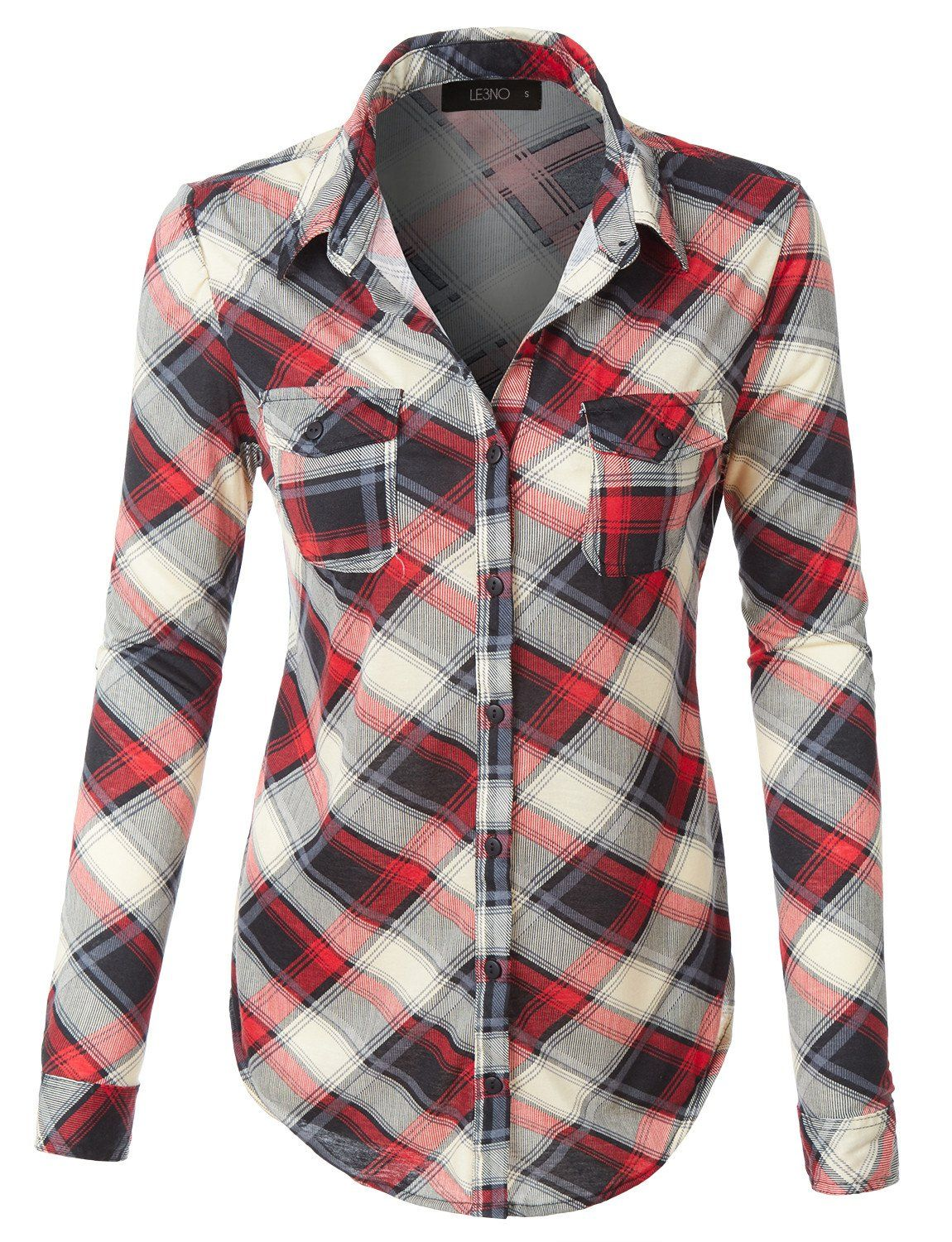 Navy blue flannel shirt womens  Womens Lightweight Plaid Button Down Shirt with Roll Up Sleeves