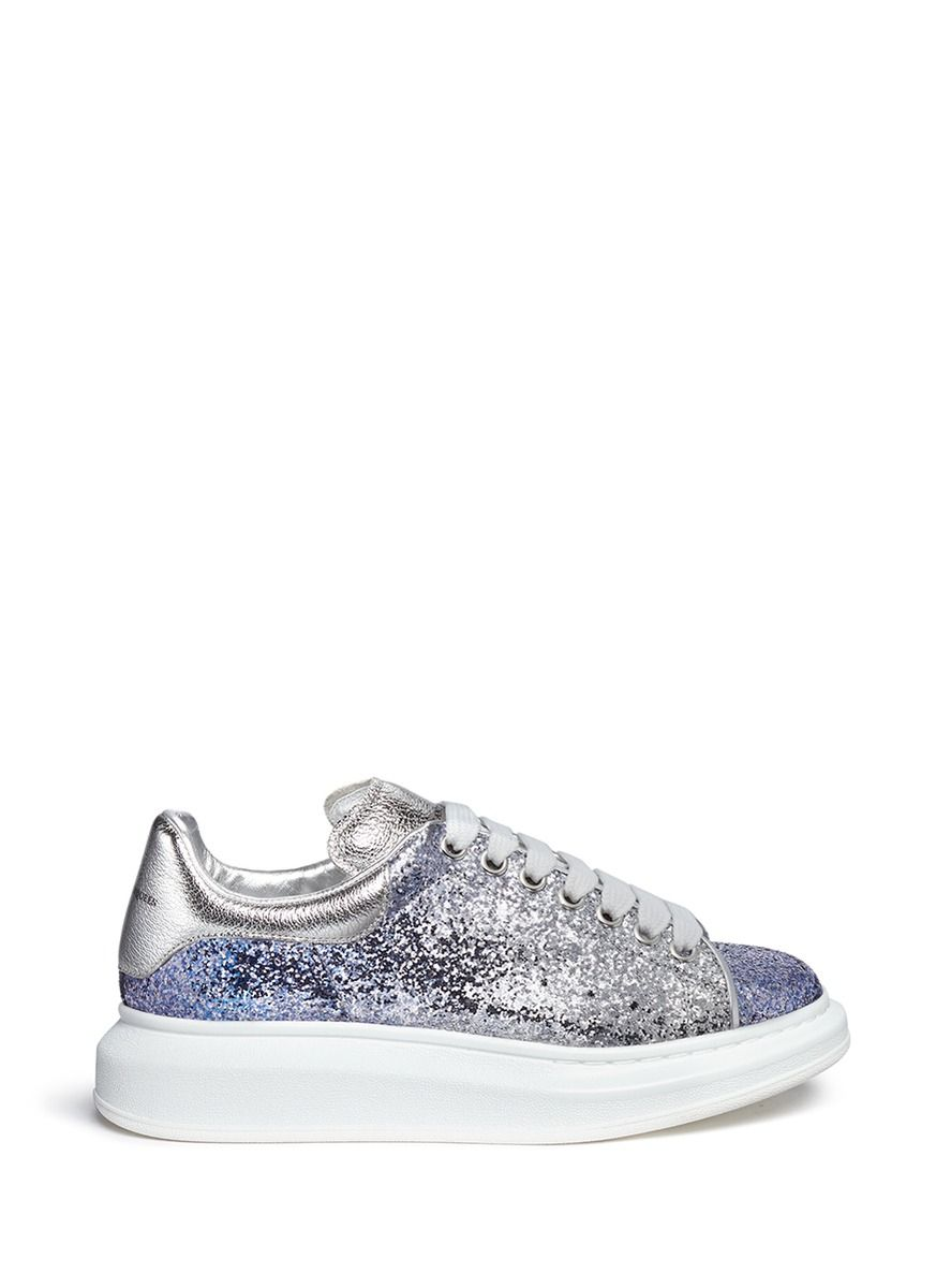 new arrival 8dcae 73864 Alexander McQueen   Blue Chunky Outsole Glitter Dégradé Sneakers   Lyst