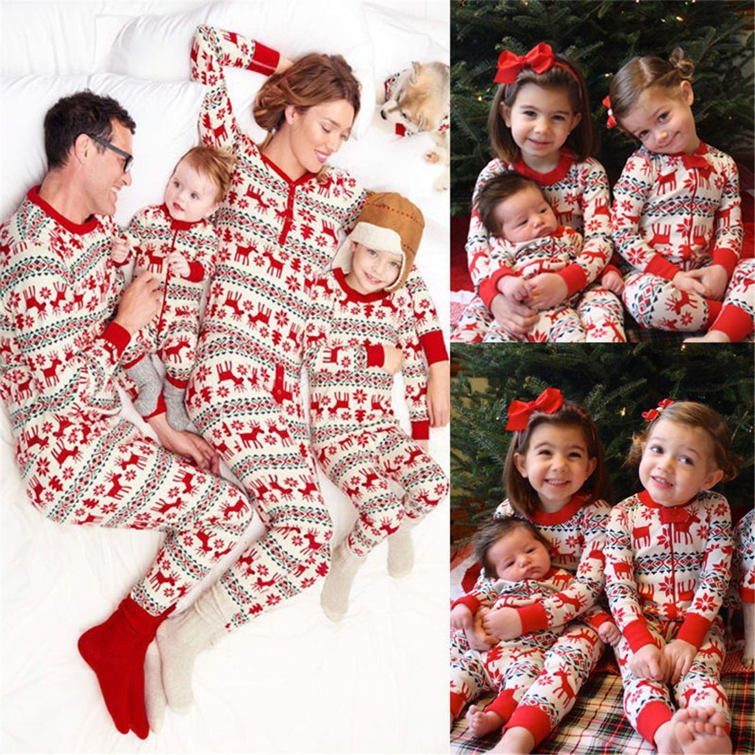 ee6dea1e9 Christmas Sleep Wear Winter Mother Father Kids Newborn Two Pieces ...