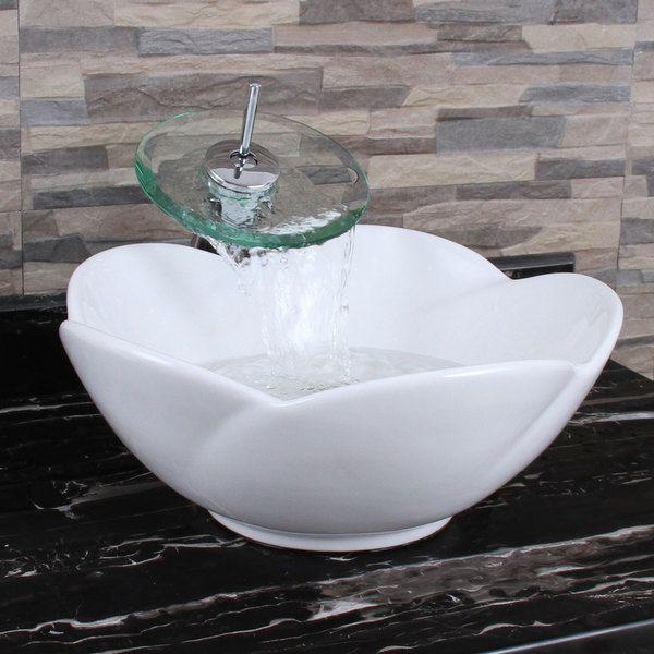 Elimax S Lotus Round Shape White Porcelain Ceramic Bathroom Vessel