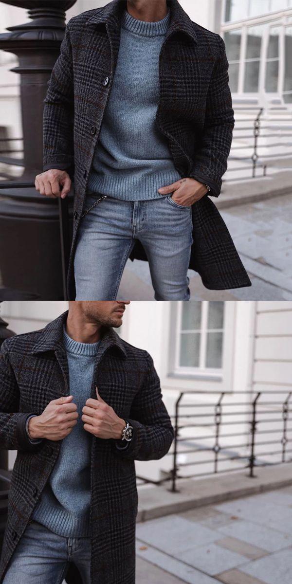 Fashion MenS Plaid Single-Breasted Coat