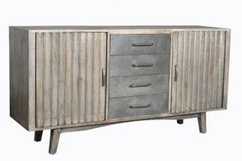 Buffet Vintage Industriel Metal Bois 2 Portes 4 Tiroirs Meuble Bois Massif Meuble Vintage Meuble House