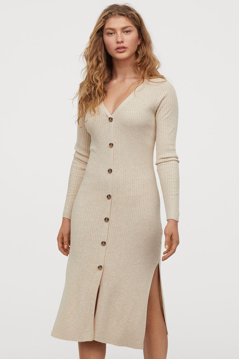 Photo of Ribbed Dress – Light beige melange – Ladies | H&M US