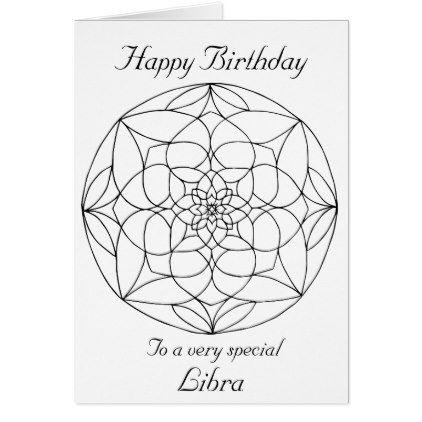 Libra Mandala Color Your Own Birthday Card