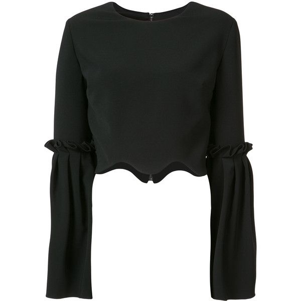 Christian Siriano scalloped cropped blouse ($413) ❤ liked on Polyvore featuring tops, blouses, black, scalloped blouse, cut-out crop tops, crop blouse, scallop edge top and christian siriano