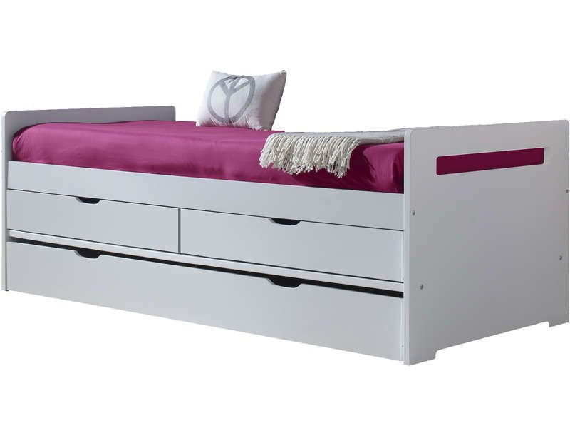 lit gigogne 90x190 cm brian coloris blanc pas cher c 39 est sur large choix. Black Bedroom Furniture Sets. Home Design Ideas