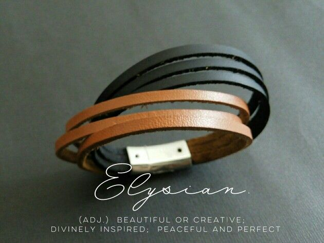 elysian(adj.)  beautiful or creative;  divinely inspired;  peaceful and perfect.  Leather bracelet by future centric.