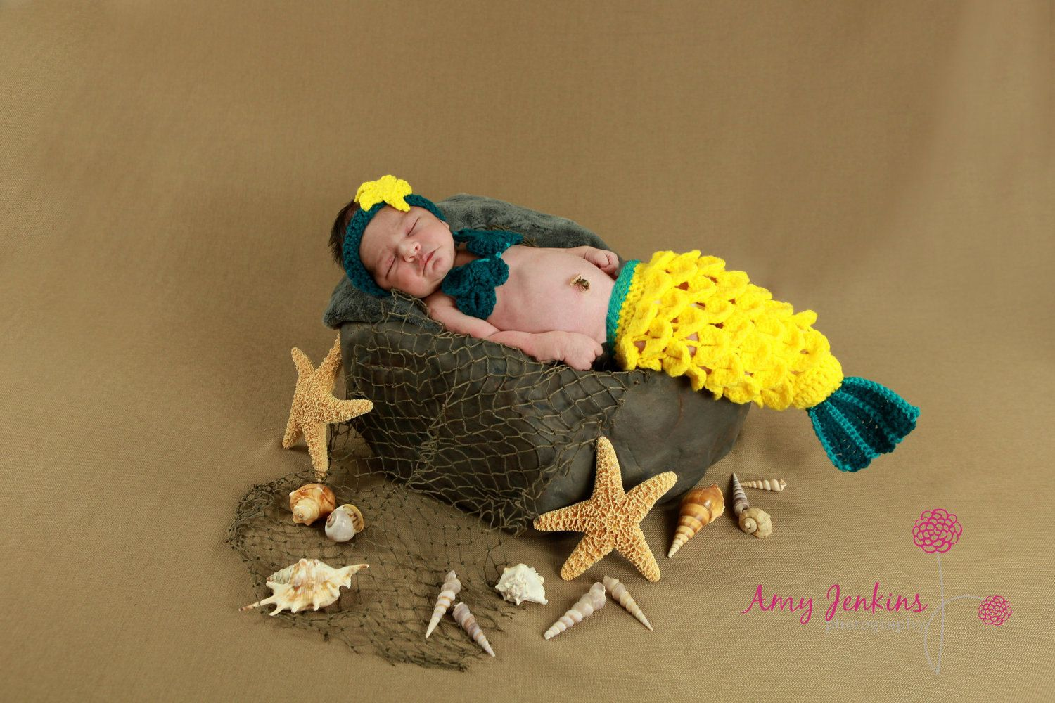 Newborn Crochet Mermaid Tail  Bright Yellow by AlishaMayCreations, $49.95  This is ADORABLE!!!!!