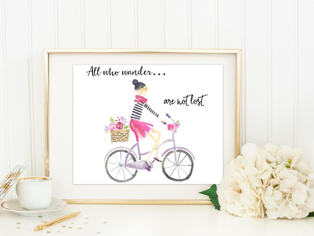 All who wander are not lost French girl digital print  Wall art printable French  Home decor Bicycle Quote print Poster instant download by SansSouciPrintables on Etsy