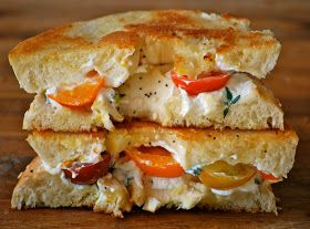 Grilled Bagel with Cream Cheese, Tomatoes and Herbs