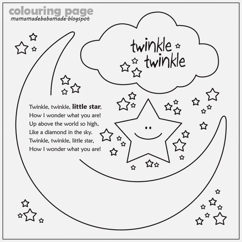 Twinkle Twinkle Little Star Colouring Page Star Coloring