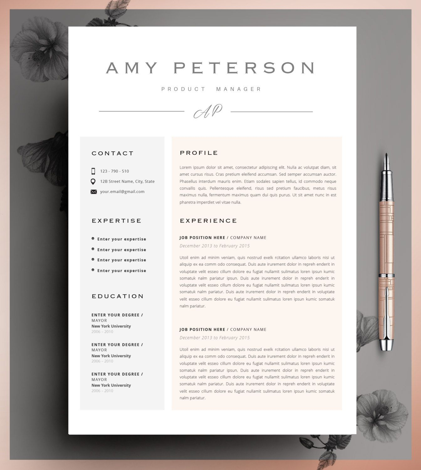 Professional Cv Curriculum Vitae 2 Page Resume Simple Etsy Creative Resume Templates Resume Layout Creative Resume