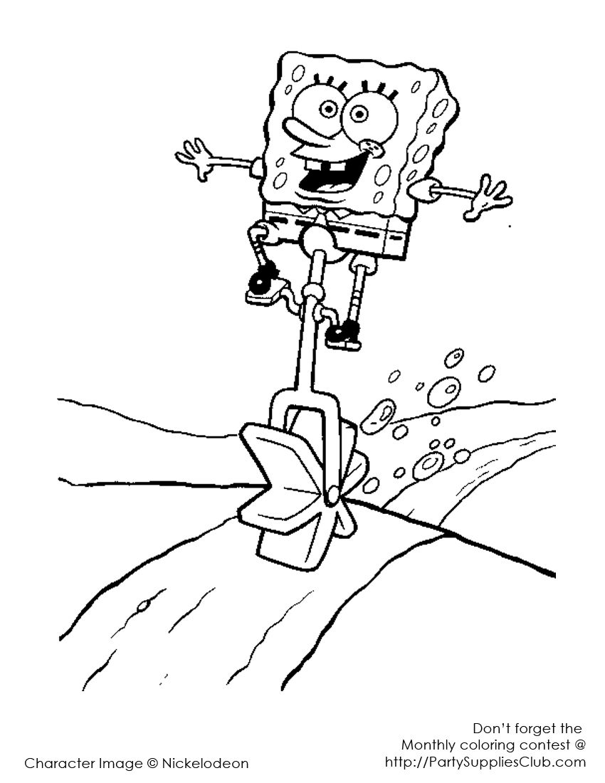 SpongeBob unicycle | Kids\' Coloring Pages | Pinterest