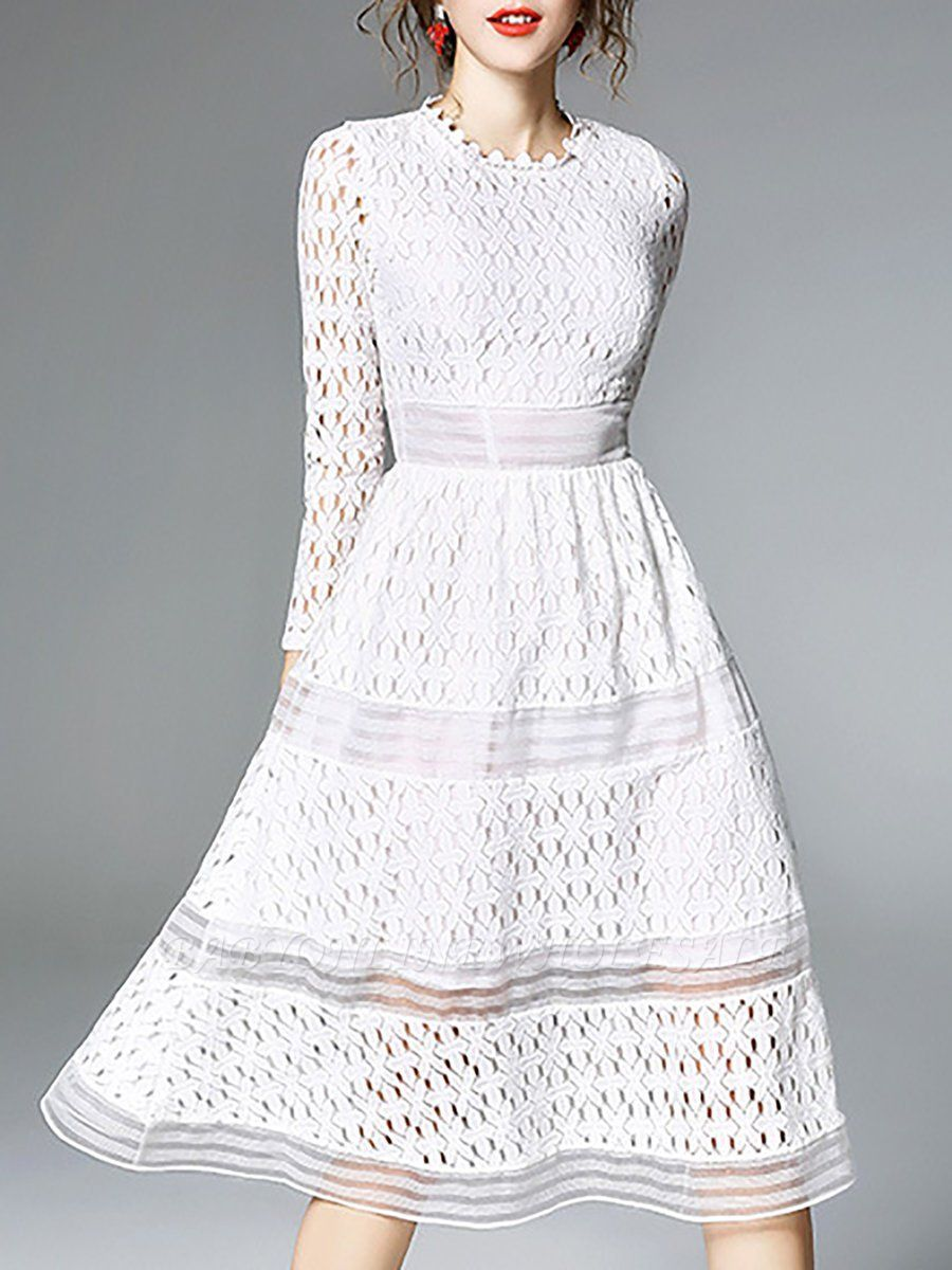 Midi Dress A Line Daily Dress Long Sleeve Elegant Lace Solid Dress Www Babyonlinewholesale Com Long Sleeve Dress Midi Dress Daily Dress [ 1200 x 900 Pixel ]
