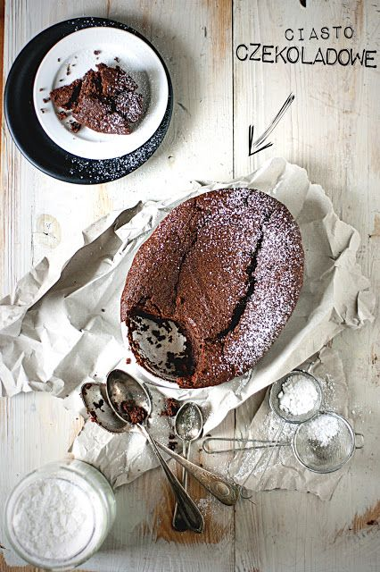 Warm chocolate dip-in cake