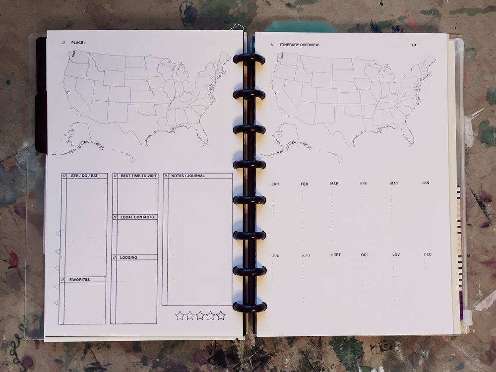 Travel Templates #fulltimeRV DIY Planners and Binders Arc