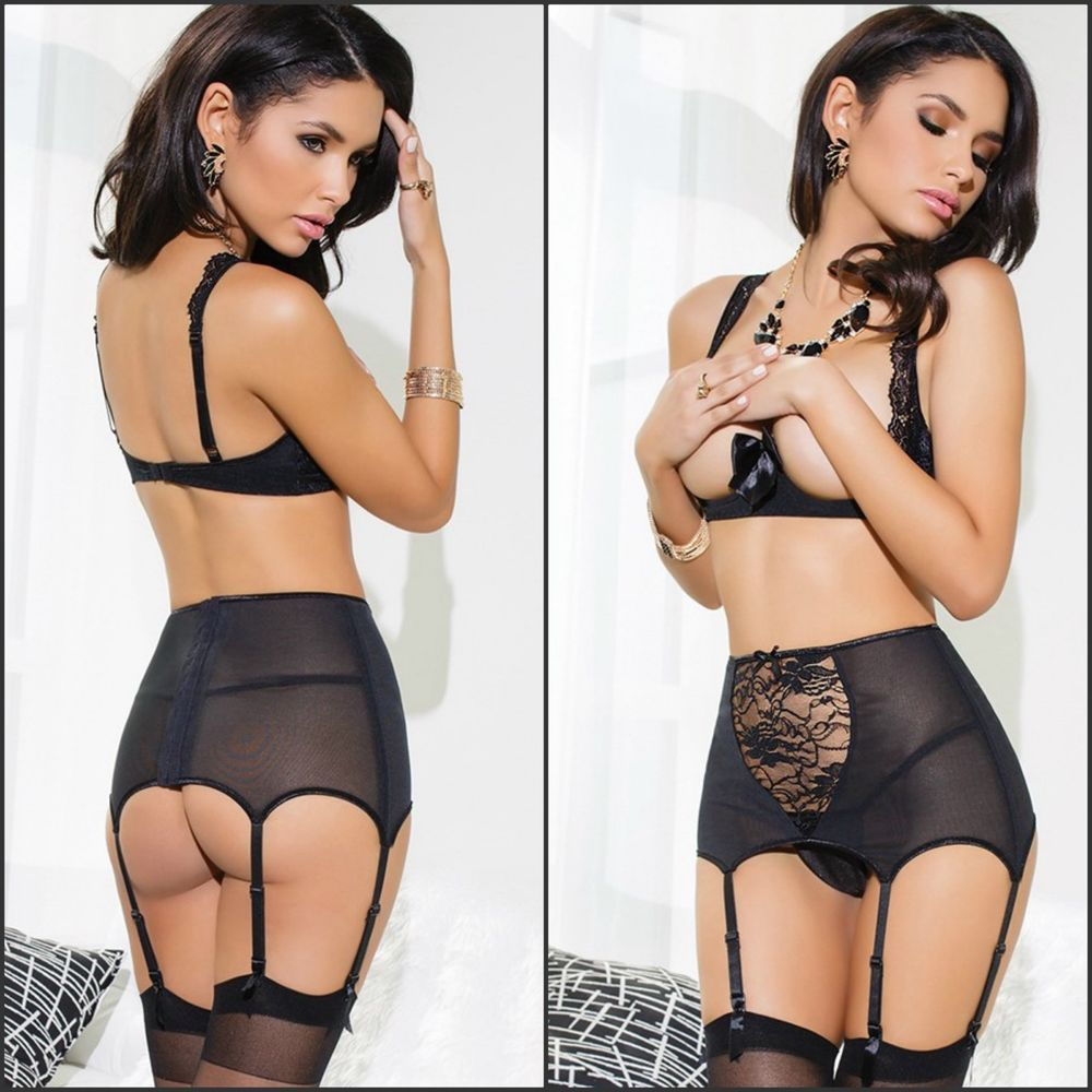 4619ffad6 3 Pc Sexy New Women s Black High Waisted Lace Mesh Open Cup Garter Belt G- string