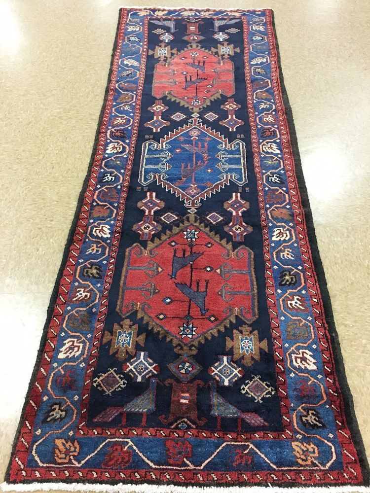 Persian Broujerd Tribal Nomadic Hand Knotted Wool Navy Rust Runner Rug 3 X 10 Persianbroujerdtribalnomadic