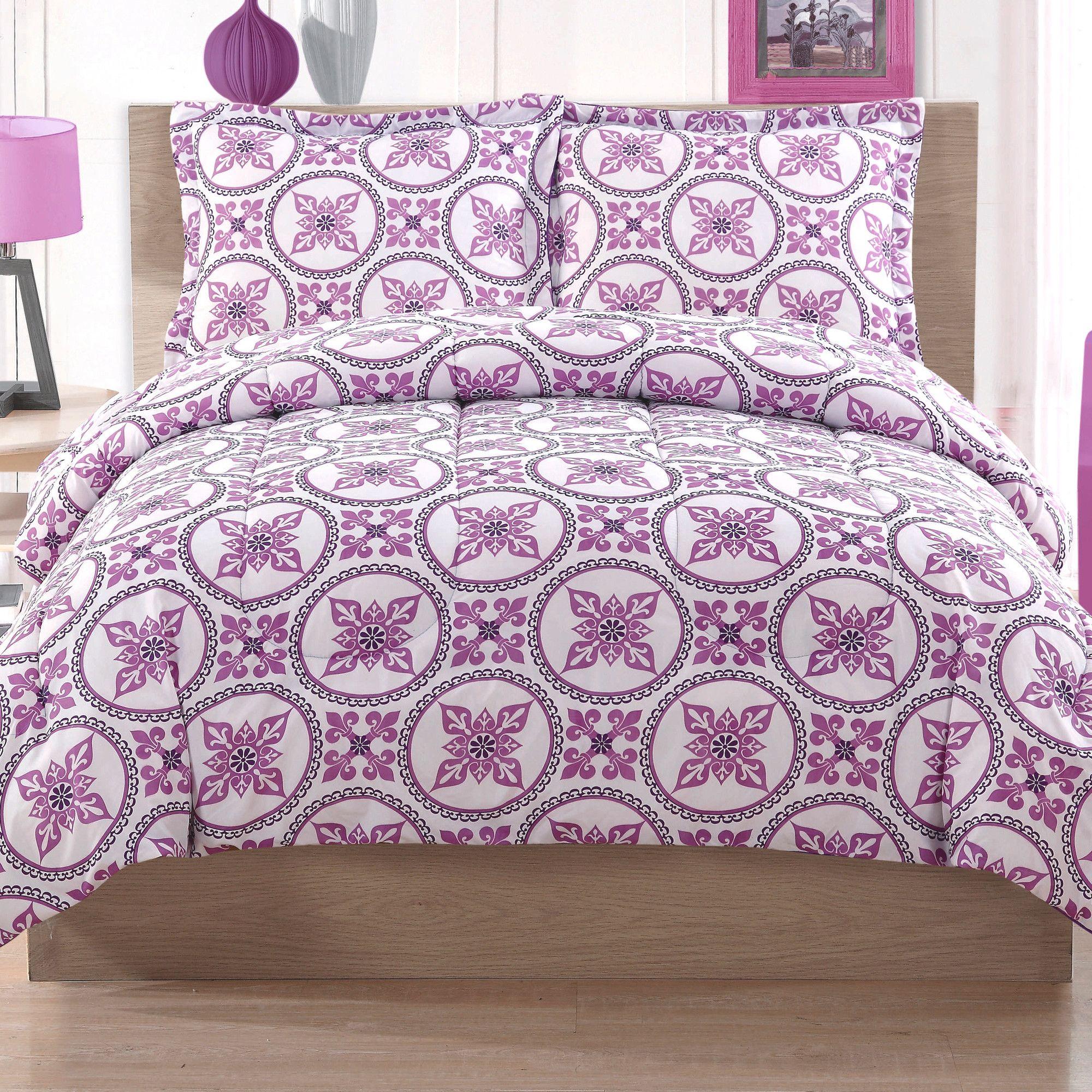 Lilac Bedroom Accessories Blue Teen Girl Bedding Sets: Cosmo Girl Baroque Circles Comforter Set
