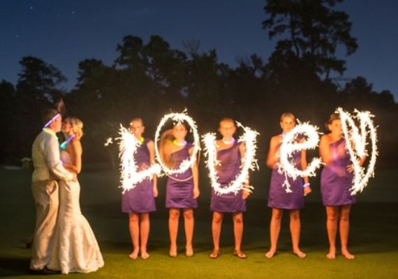 night wedding ideas:  love sparkler photo