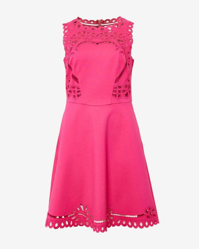 Cut-work skater dress - Bright Pink | Dresses | Ted Baker | Bat ...