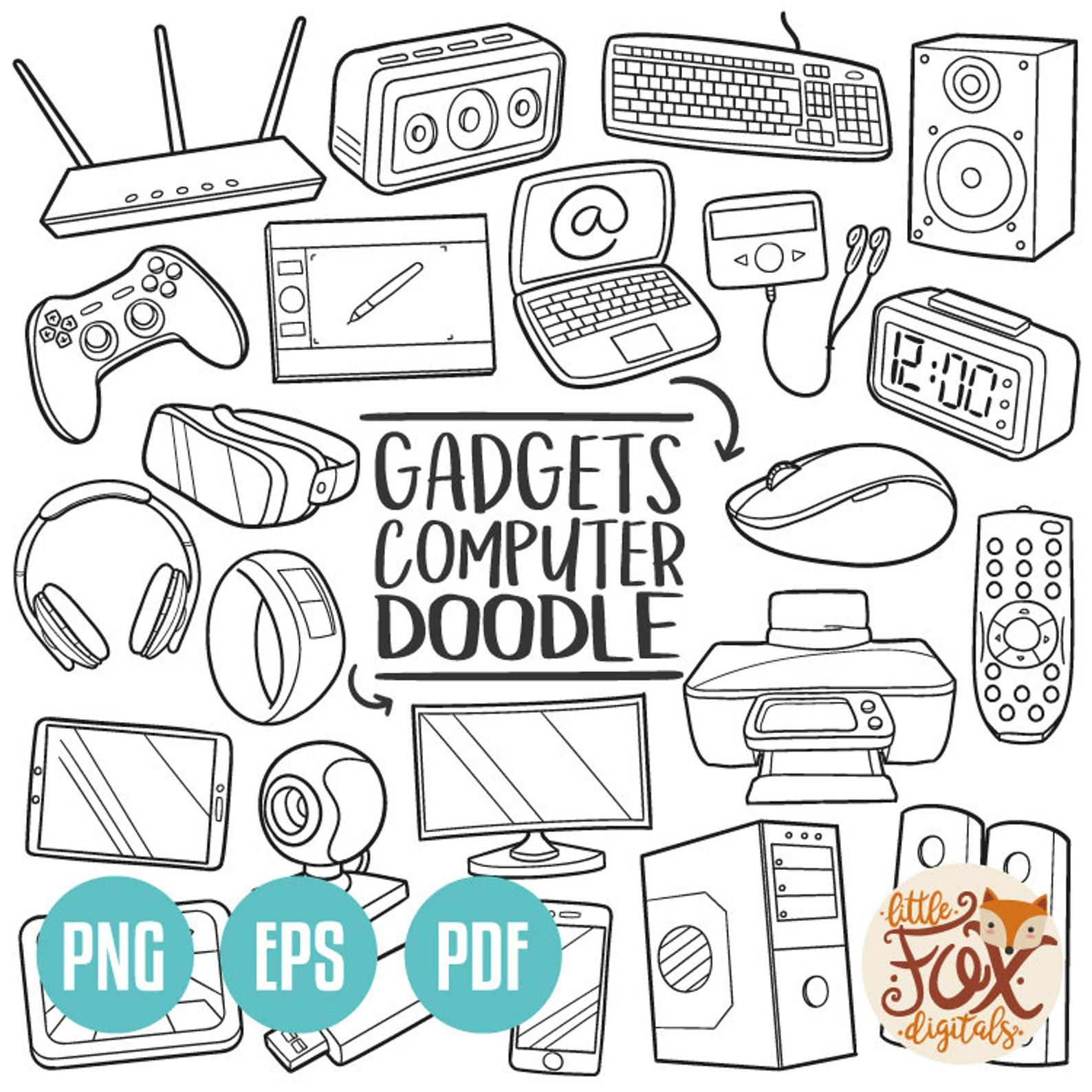 Gadgets Doodle Vector Icons Computer Technology Tools Etsy In 2020 Line Art Design Doodle Icon Doodles