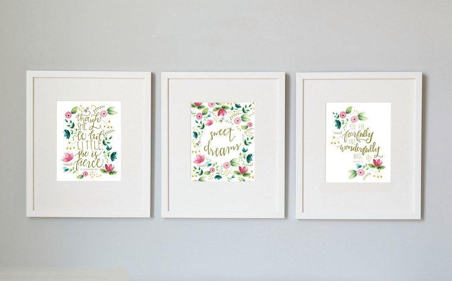set of 3 floral nursery prints, printable, 8x10, She is Fierce print, Sweet Dreams print, Psalms 139 print, 3 pack nursery print, watercolor by LittleKitDesign on Etsy https://www.etsy.com/listing/221111810/set-of-3-floral-nursery-prints-printable