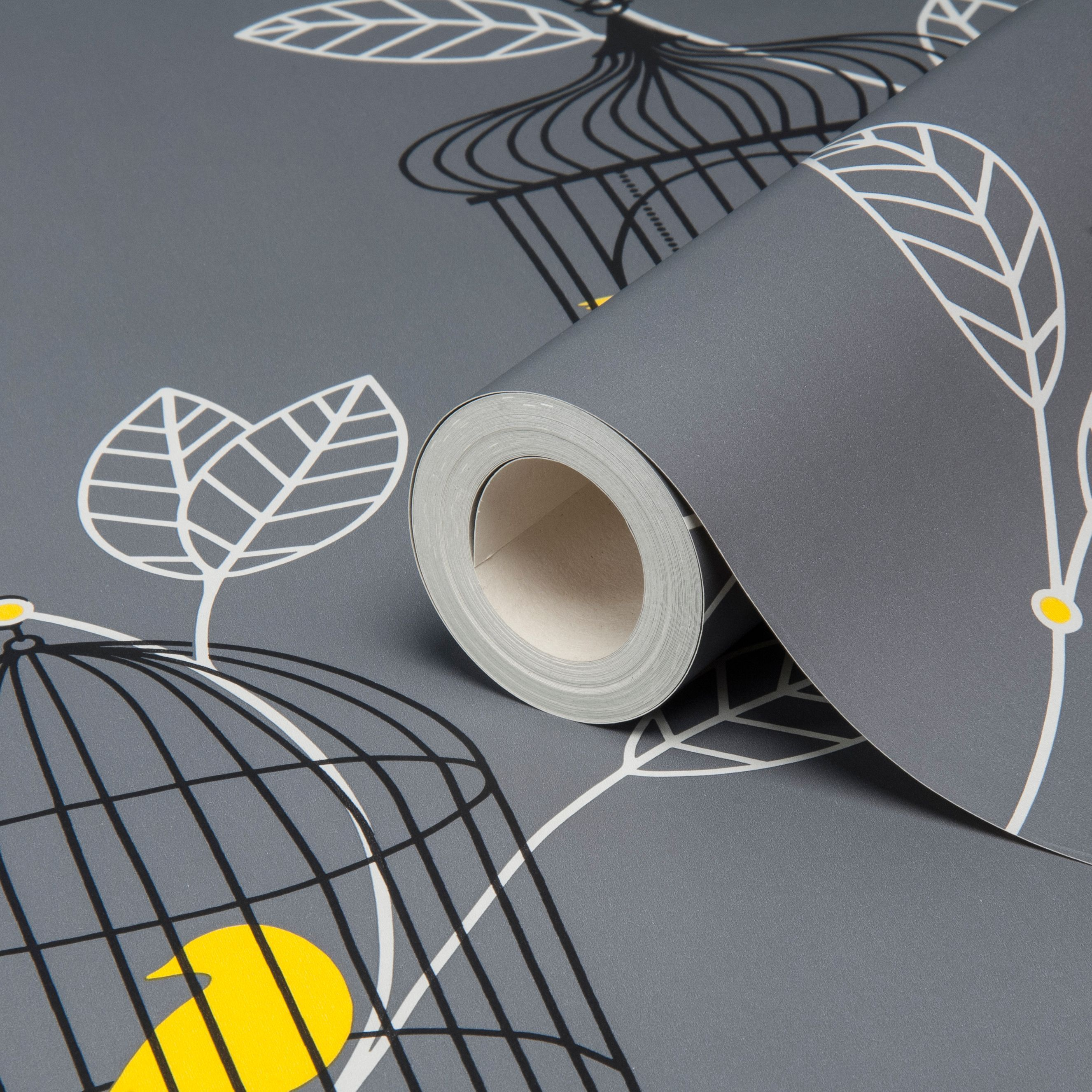 Aviary Grey Yellow Birds Wallpaper Departments Diy At B Q Bird Wallpaper Yellow Wallpaper Grey Yellow