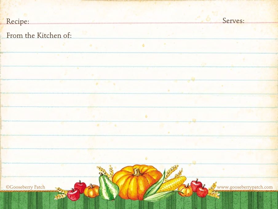 Fall Recipe Cards From Gooseberry Patch Downloadable Recipe Cards Pretty Recipe Cards Printable Recipe Cards