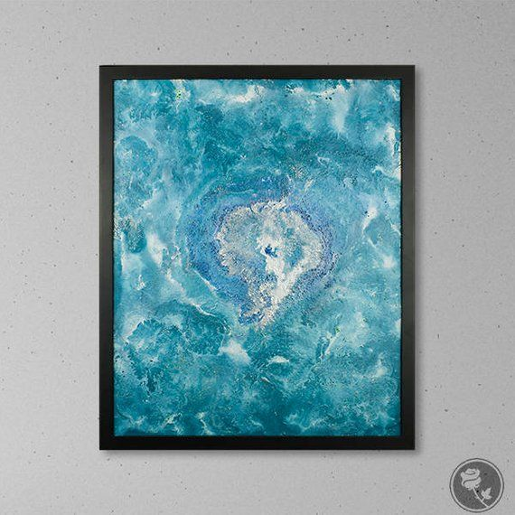 Spray Paint Art Blue Artwork Teal Wall Framed 16x20 Abstract Canvas Abst