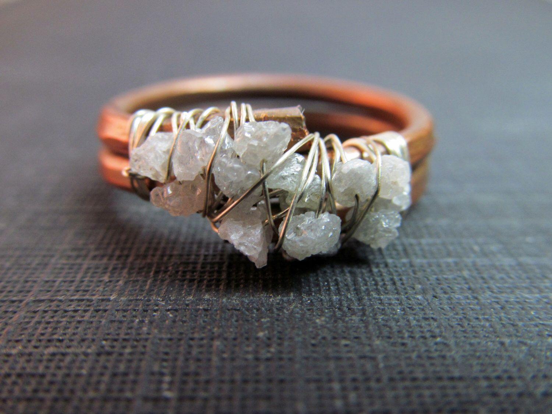 Roh und ungeschnitten Rohdiamant Cluster Ring - Kupfer & Sterling ...