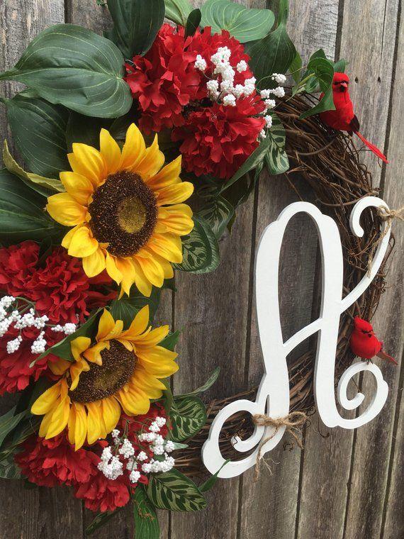 Photo of Monogram wreath / sunflower wreath / cardinal wreath / sunflower monogram wreath / housewarming wreath / grapevine wreath
