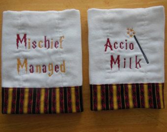 Set of 2 -Harry Potter themed machine embroidered burp cloth