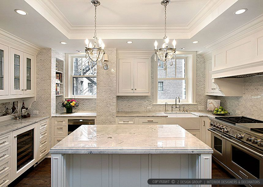 Marble Backsplash With Granite Countertops