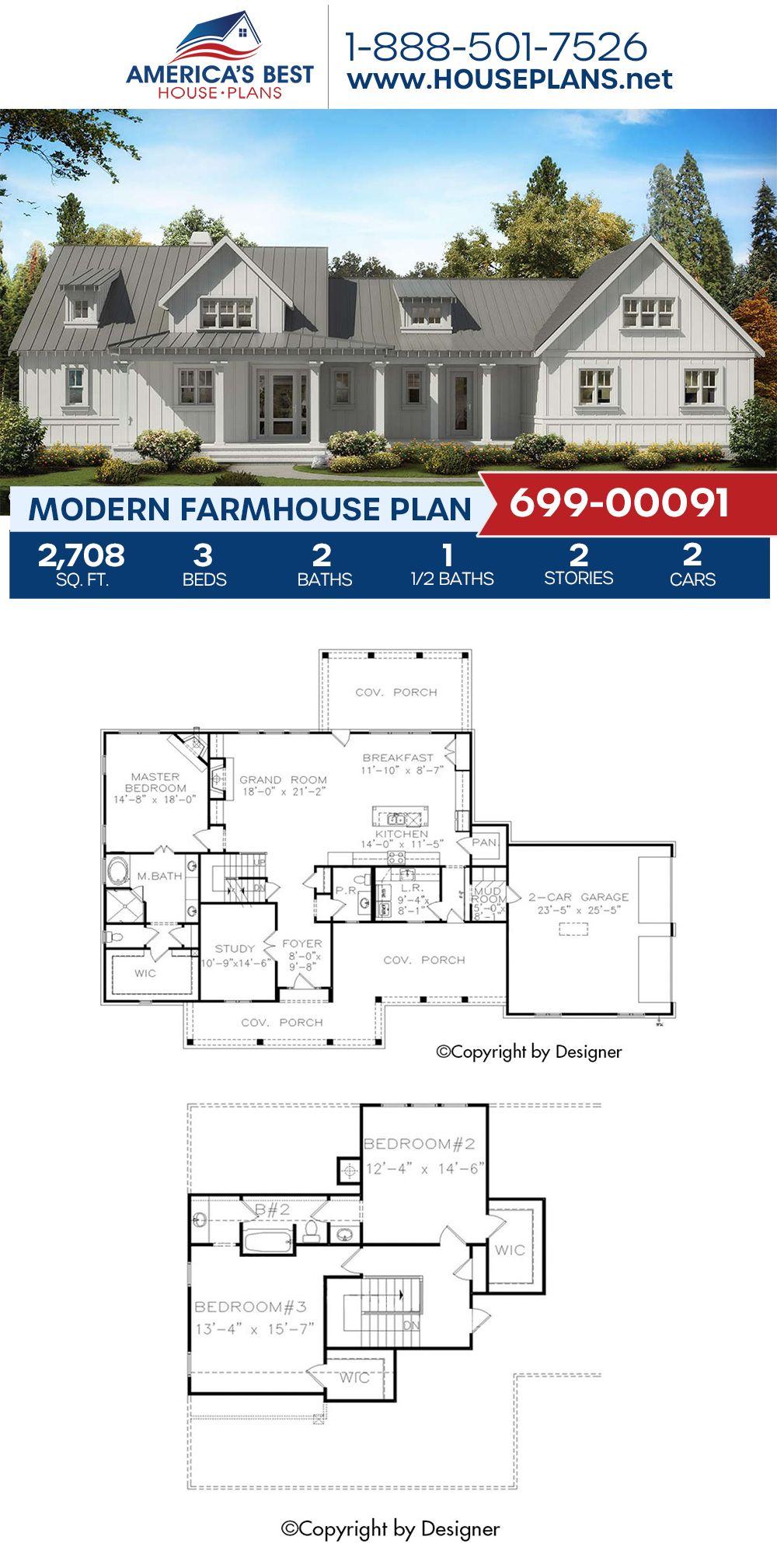 House Plan 699 00091 Modern Farmhouse Plan 2 708 Square Feet 3 Bedrooms 2 5 Bathrooms Farmhouse Plans Modern Farmhouse Plans House Plans