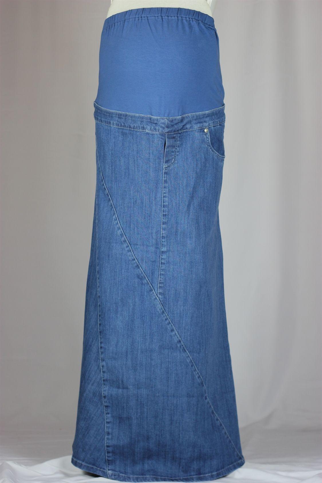 Pretty Mama Long Denim Maternity Skirt | Maternity Fashion ...