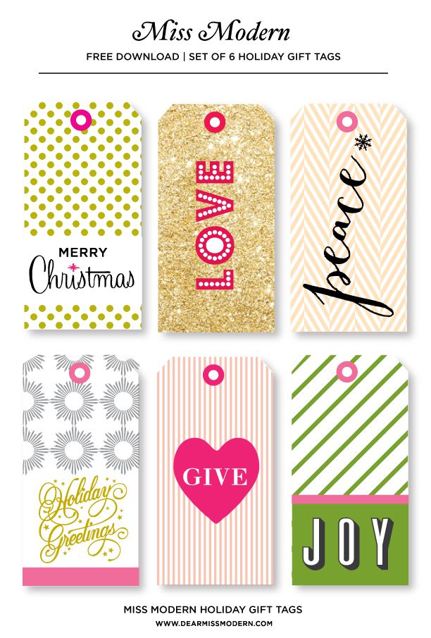 Free Gift Tag Download on the Miss Modern Blog. #freedownload ...