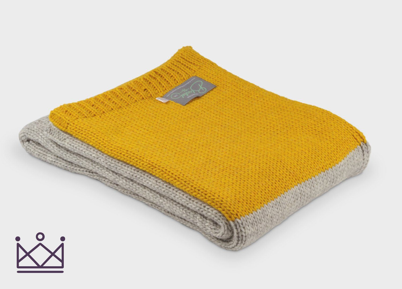23bb1e07ad Mustard Panel Knitted Alpaca Throw - The British Blanket Company ...