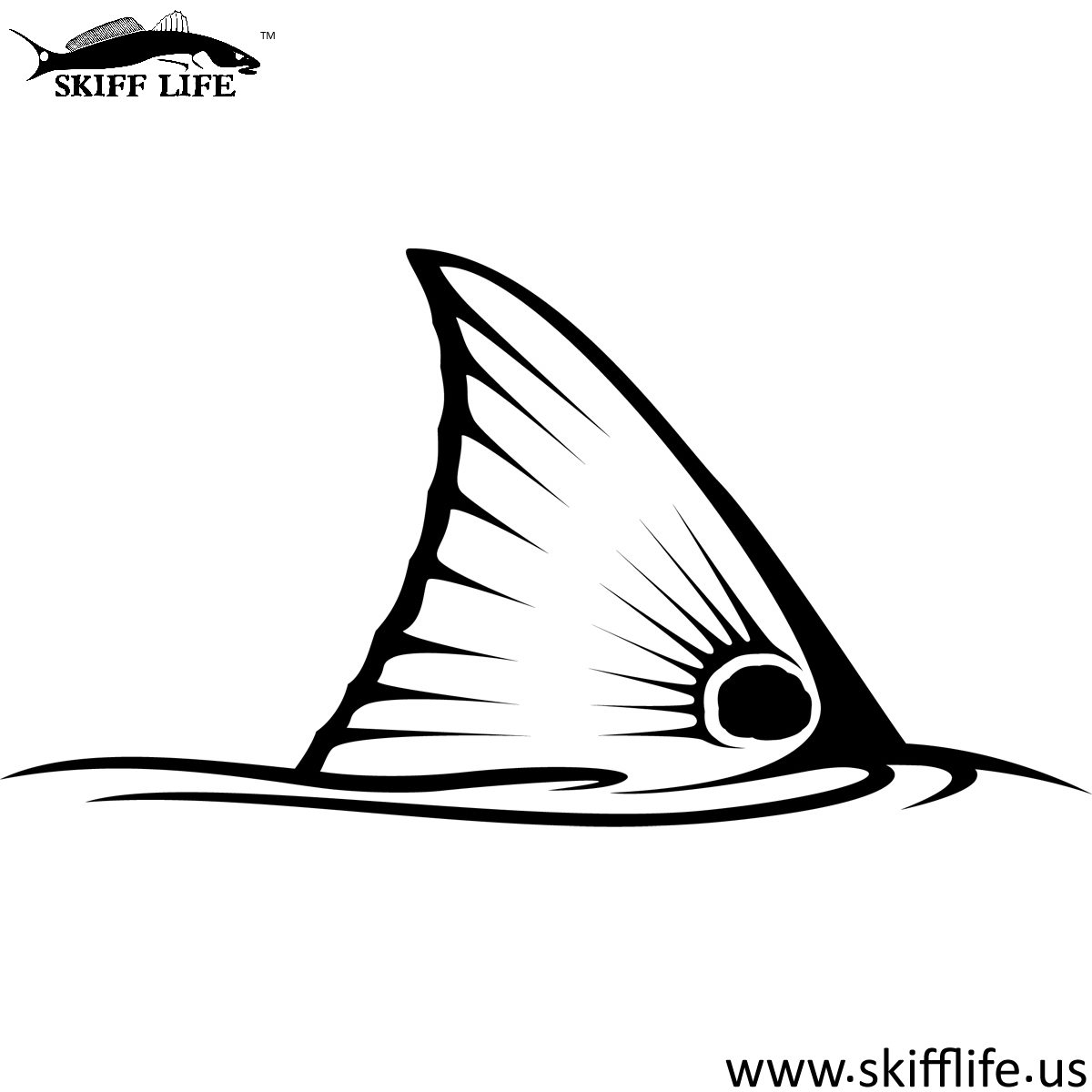 Redfish Tail Decal In Black