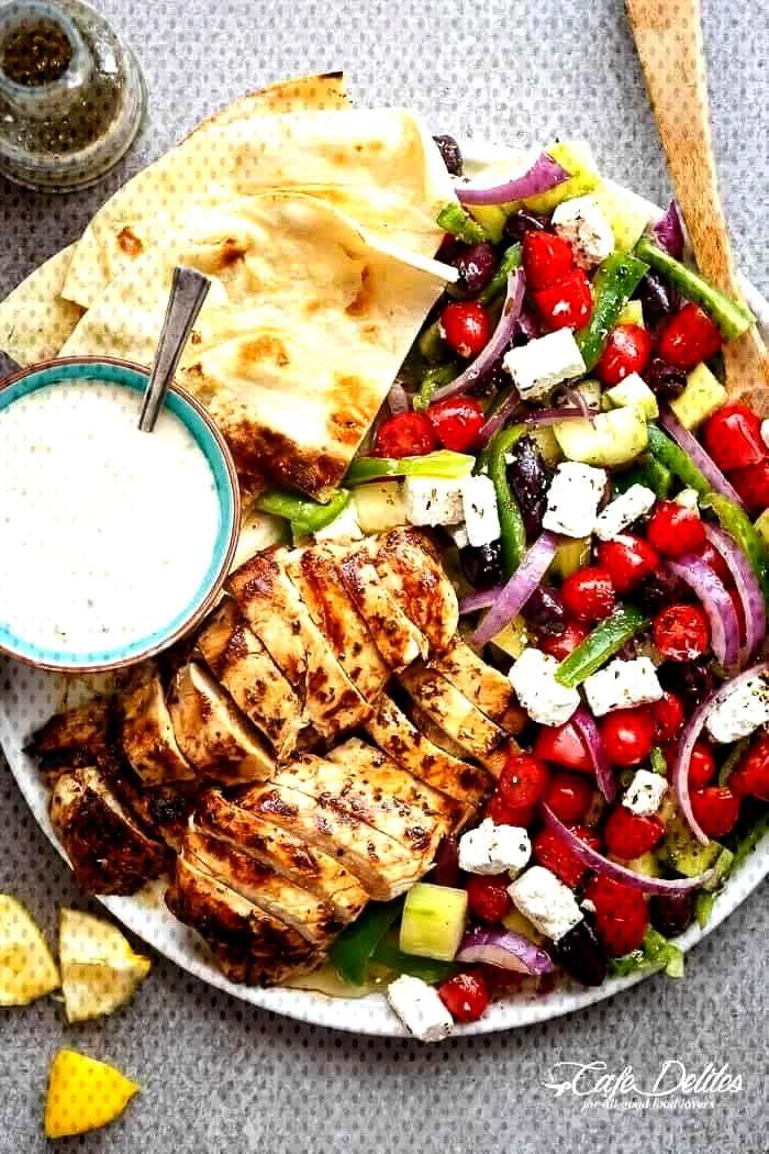 Greek lemon and garlic chicken salad - lunch -