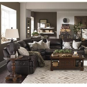 Sensational Dillon 6 Piece Leather Reclining Sectional In Walnut Media Caraccident5 Cool Chair Designs And Ideas Caraccident5Info