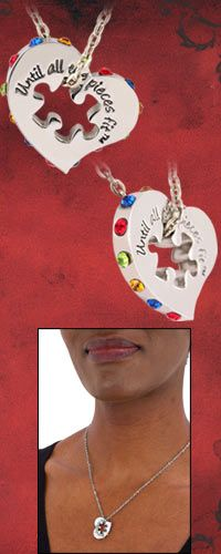Until All the Pieces Fit™ Crystal Heart & Puzzle Piece Necklace at The Autism Site