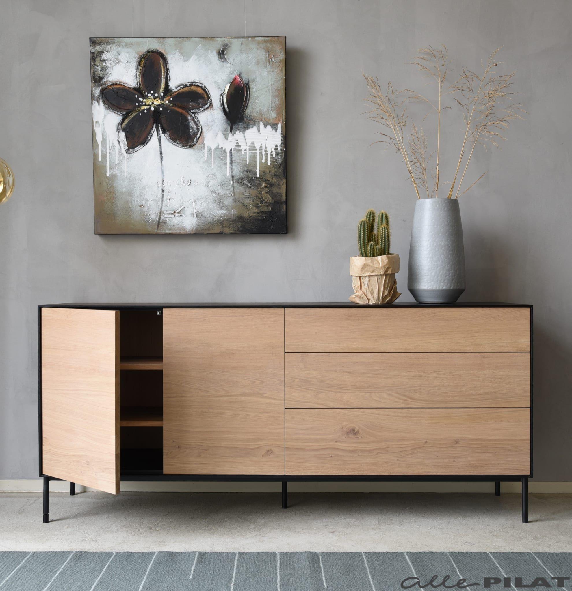 Eiken Dressoir Swart Van Massief Eikenhout Woonwinkel Alle Pilat Dressoir Decor Kamer Decoratie Interieur Woonkamer