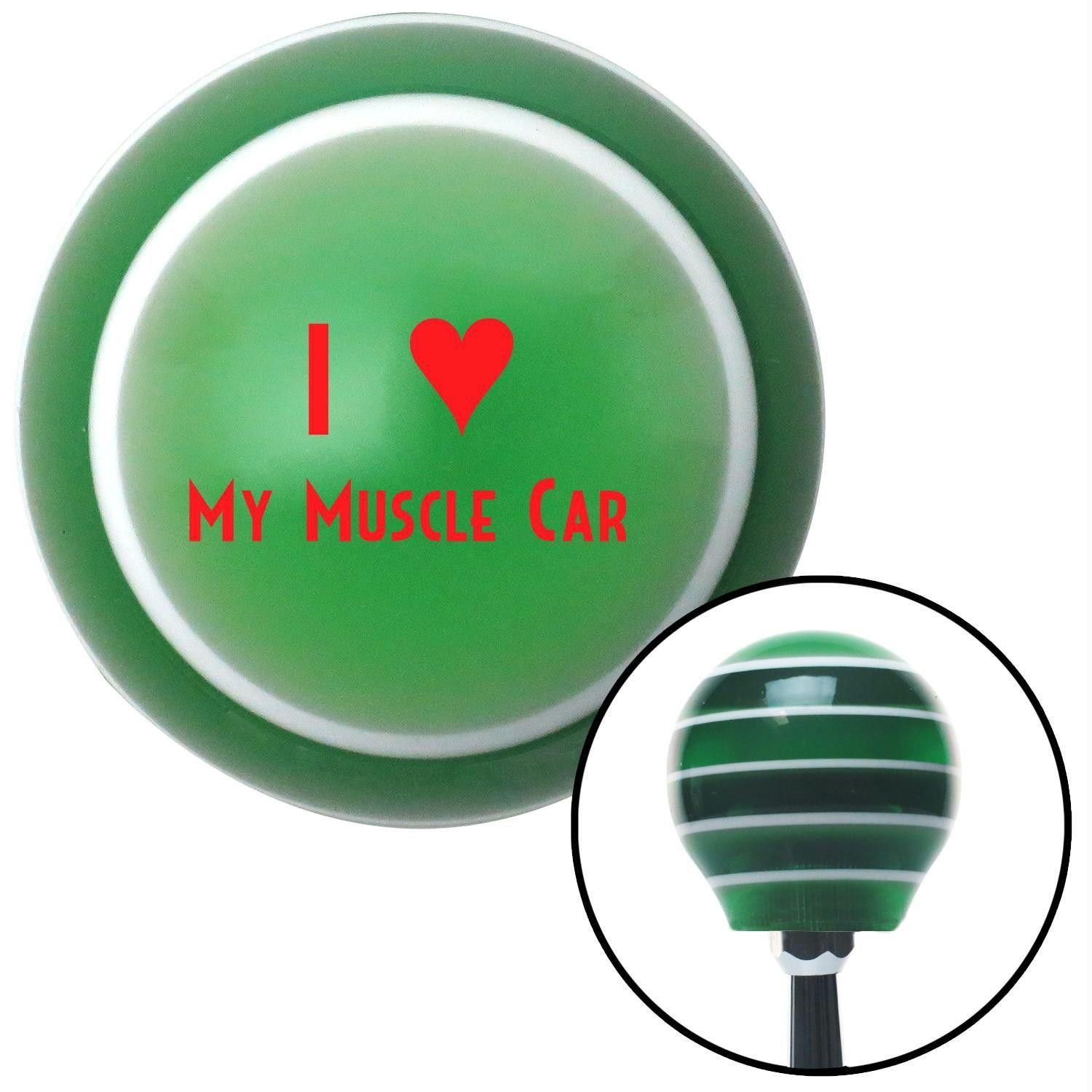 Red I 3 MY MUSCLE CAR Green Stripe Shift Knob with M16 x 15 Insert