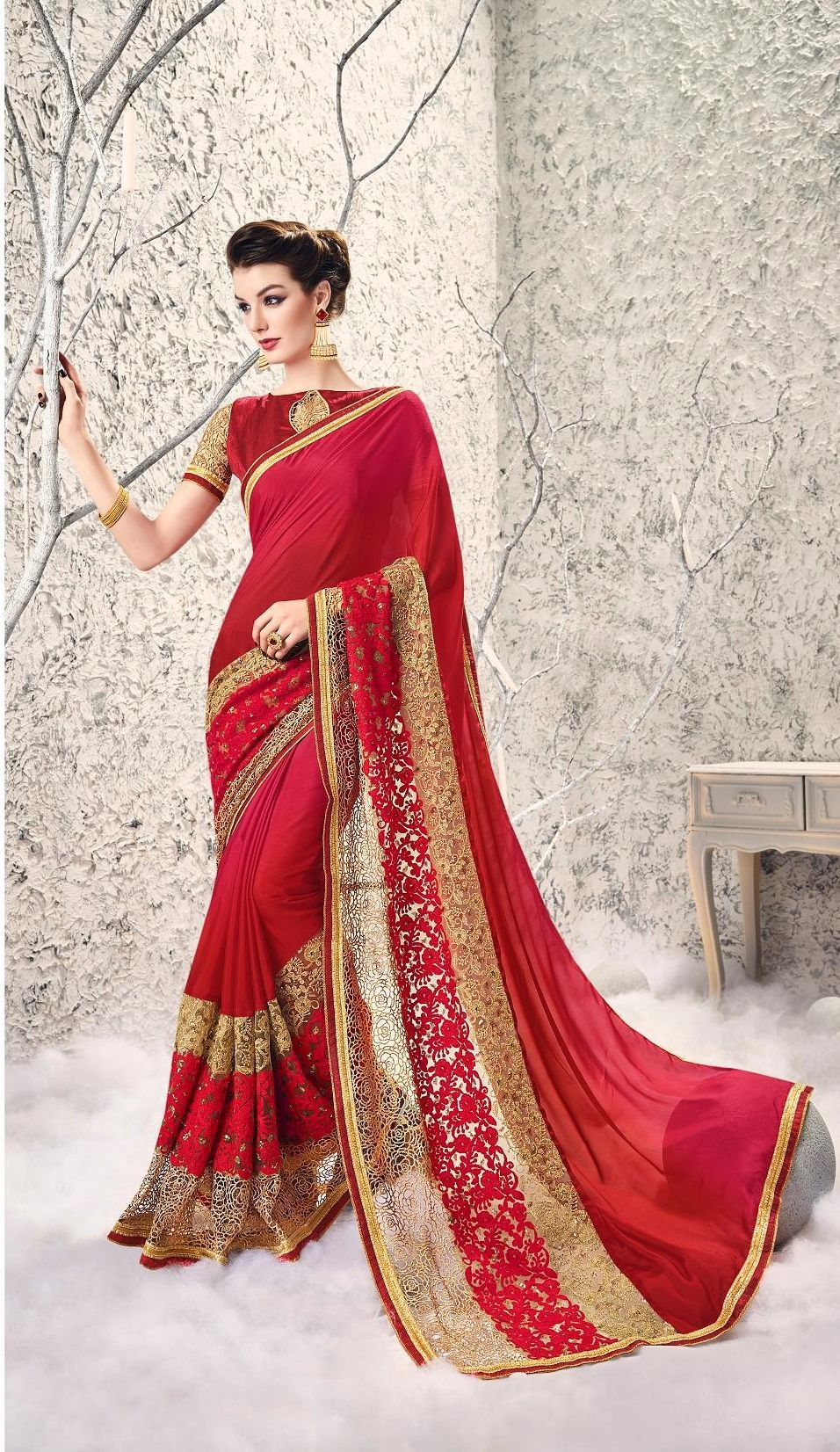 1e72bf1764 Party-wear-Maroon-Red-color-saree in 2019   Designer Sarees - Party ...