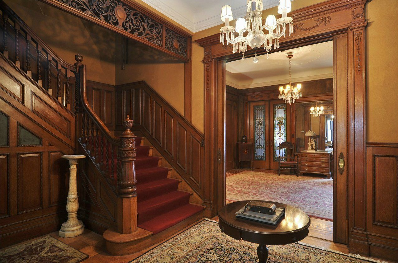 Foyer and staircase in west brooklyn ny victorian home for Victorian woodwork